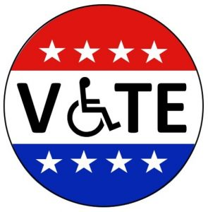 "The word ""vote"" with a wheelchair embedded"