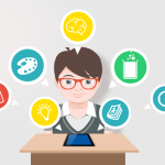 Student with icons of various apps